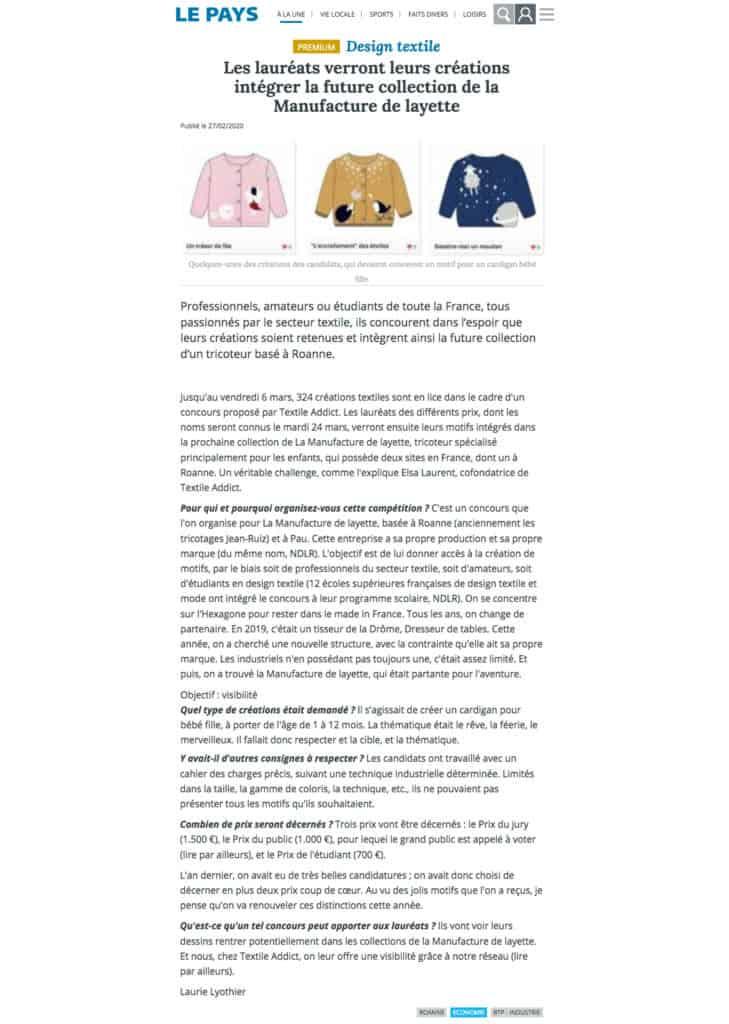 le pays roannais concours textileaddict 2020